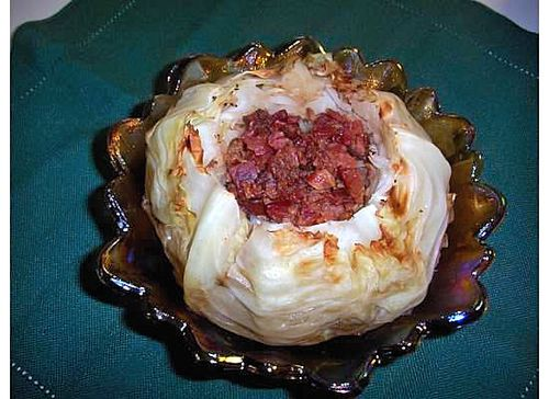 Whole roasted cabbage