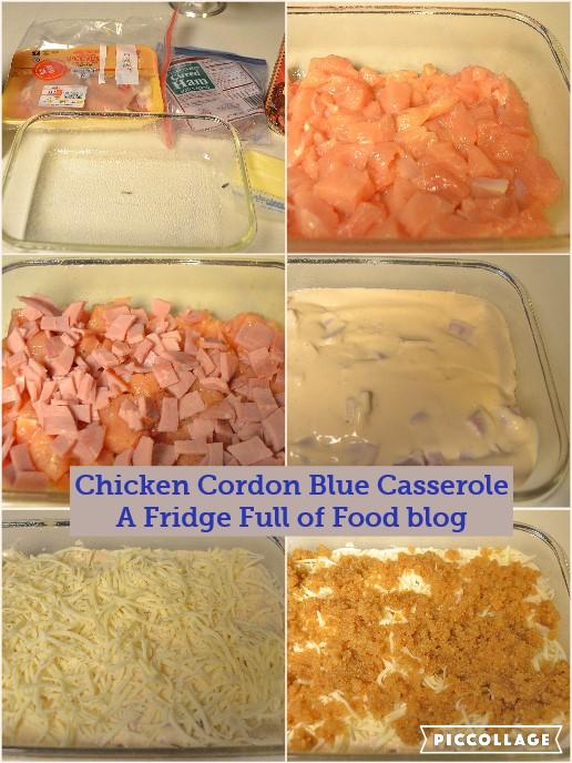 Chicken cordon bleu collage